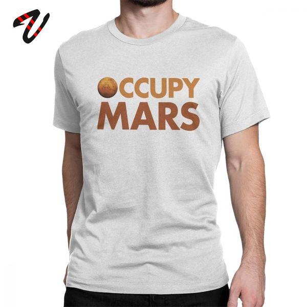 Ocupe o t-shirt para Homens de manga Espaço Elon Musk Colonizar Exploração camiseta Astronomia Curto Tees Crewneck Cotton Top T Shirt