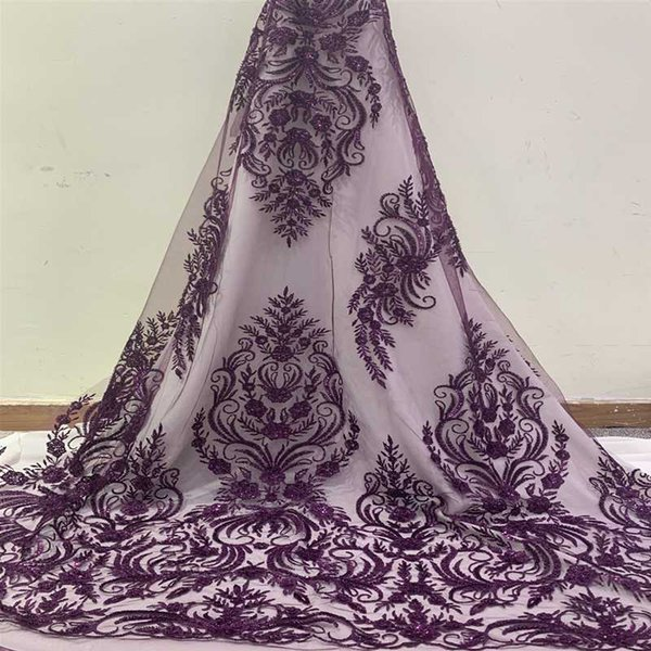 best selling Latest African Lace Fabric 2020 High Quality Swiss Voile Lace Embroidery Mesh Beaded Nigerian Fabrics Material For Sewing