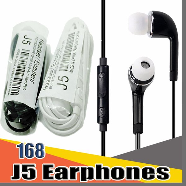 top popular 168D Earphones headphones headsets J5 Earphone For Samsung With Mic For Samsung GALAXY S2 S3 S4 Ace N7100 Galaxy S5 S4 Note3 S5830i 2020
