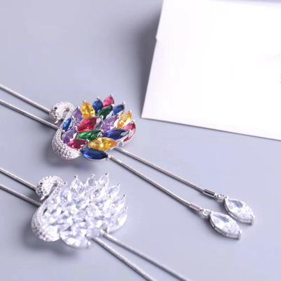 Crystals form Swarovski Korean edition white swan high-grade Brooch Sweater chain long section necklace clothing ornament selection for lady