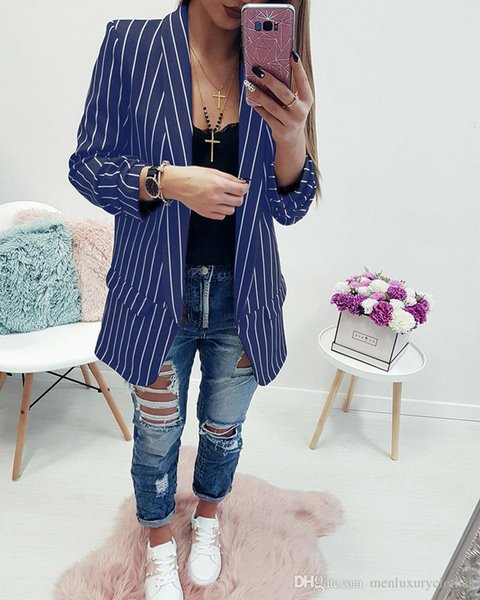 Women Striped Blazers V Turn Down Collar Without Button Coats Jackets Tops Clothing Blazer