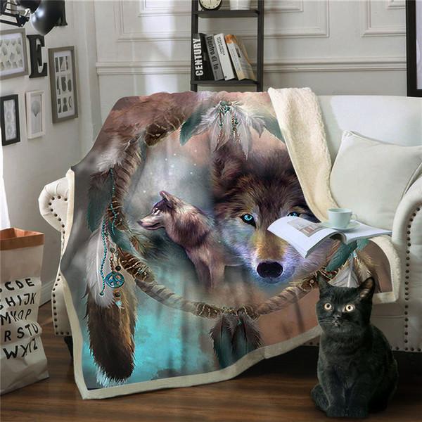 blanket wolf manta sofa throw blanket fleece deken frasadas para cama frazadas de polar sleep coperte drop shipping