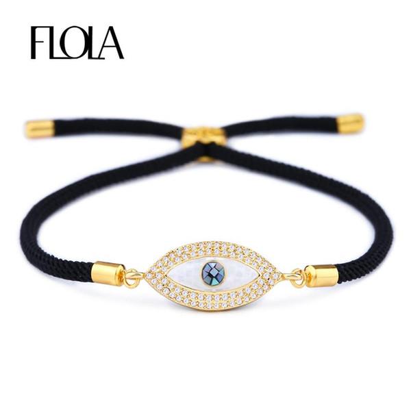 FLOLA Turkish Gold Evil Eye Bracelet pour Femme CZ Zircon Shell Eye À La Main Noir Corde Homme Bracelet Bijoux Cadeau Pulseira brta87