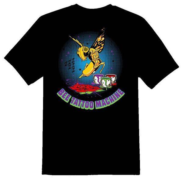 Bee Tattoo Machine Black Or White Tee T Shirt Men Boy Design White Short Sleeve Custom Plus Size Party Tshirt