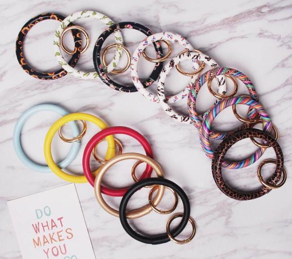 2019 The Leather Bracelet Keychain Personalized Sunflower Serape Leopard Leather Bracelets Keychains O Key Ring Circle Bracelet Wristlet Key