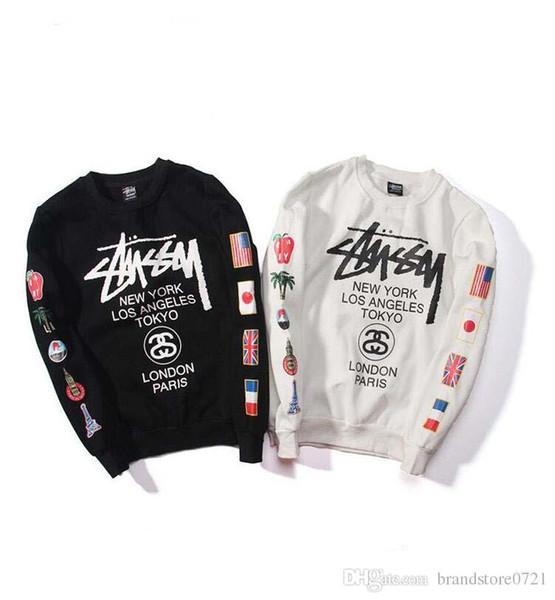 hoodies impressão Moda casais sweatshirt marca bandeira dos homens do velo hoodies pulôver bordado moderno do hoodie dos homens quentes unissex hoodies D30
