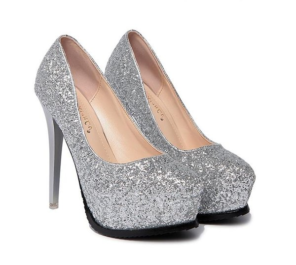 Silver pointed wedding shoes 12cm super high heel Waterproof platform Non-slip rubber sole Sequined upper Shallow mouth shoes Dress shoes