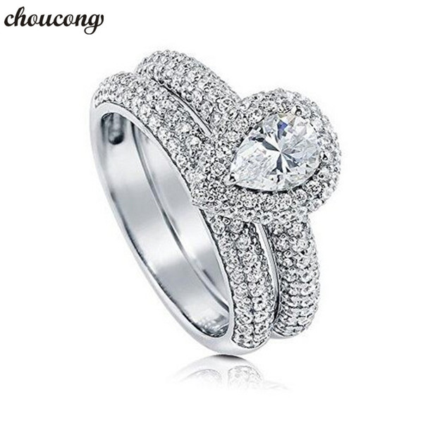 choucong Vintage Promise Ring set 925 sterling Silver Pave setting Diamond Engagement Wedding Band Rings For Women Jewelry Gift