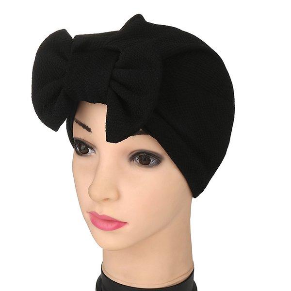 Muslim Women's Stretch Cotton Removable Bowknot Turban Hat Cancer Chemo Beanies Hijab Headwear Cap hair Loss accessories