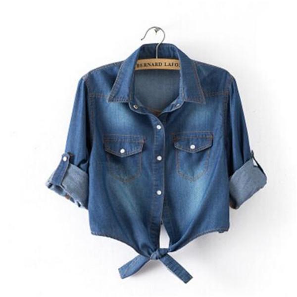 91473b422 Tops das mulheres E Blusas de Verão Casuais Cortadas Mangas Mulheres Camisa  Feminina Denim Camisas Moda