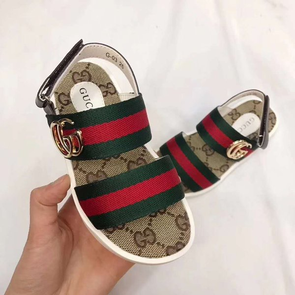 boy designer sandal shoes G Letter print baby boy girl shoes outdoor slippers girl black leather sandals EU 26-35