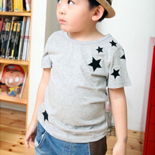 Kinder Kinder Jungen Muster Kurzarm Baumwolle T-Shirt 2-7Y Koreanische Version Star New