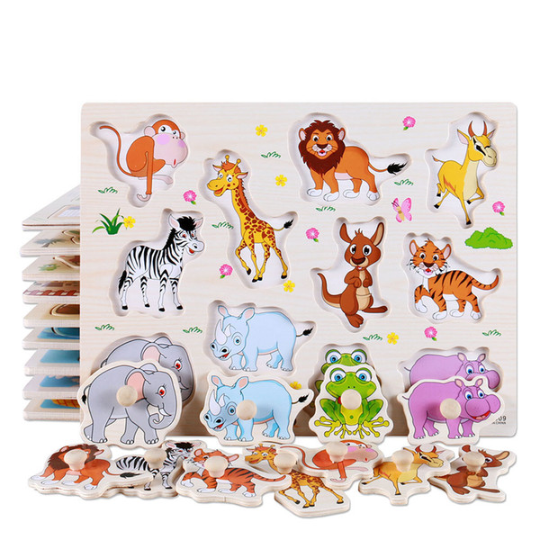 top popular New Baby Learning Toys Montessori Wooden Puzzle Hand Grab Board Early Educational Toy Cartoon Vehicle  Marine Animal Puzzle Kids 2019