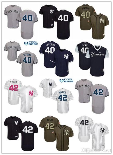 "custom Men's Women's Youth Majestic Yankees Jersey 40 Luis Severino ""Sevy"" 42 Mariano Rivera Detroit Baseball Jerseys"