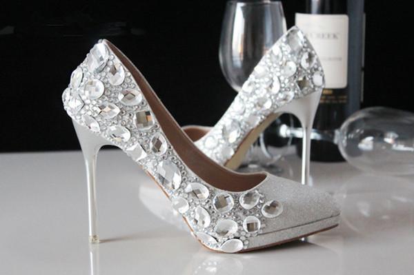 Rhinestone Red Wedding Shoes Fashion Silver High Heels Crystal