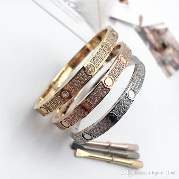 Titanio hombres de acero y pulseras womenLover con plata llena de diamantes CZ brazalete color de rosa de oro con pulsera destornillador para los amantes de la joyería