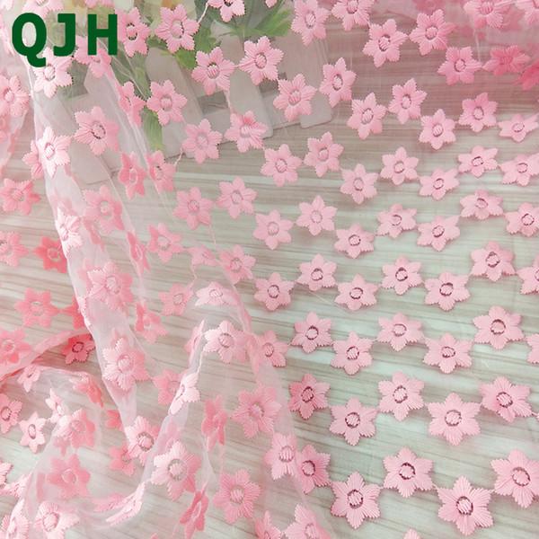 Novo Design de 120 cm de Largura Rosa Tecido de Renda Africano Leite De Seda Organza Flores de Renda Bordado DIY Pano De Material De Vestido De Casamento