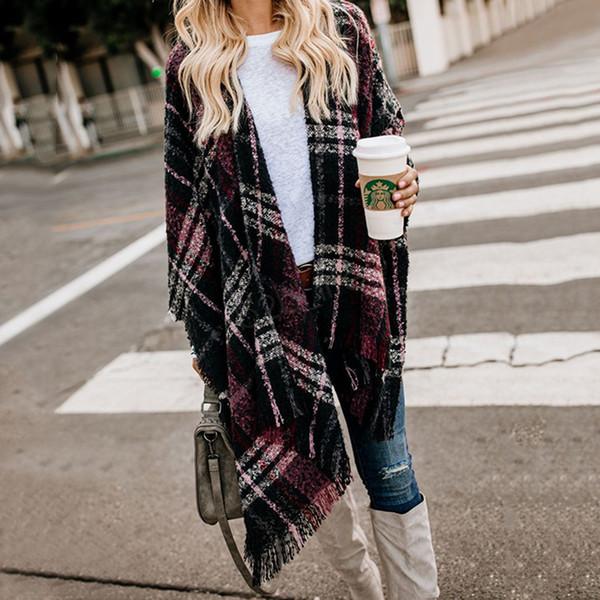 Sciarpa di lana da donna Cardigan Patchwork Plaid Poncho Cape Wrap Inverno Coperta calda Mantello Wrap Scialle Cappotto outwear LJJA2979