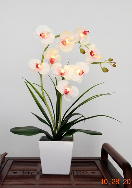 Free Shipping LED Blossom Orchid Flower Light 9 PCs Warm White LED /Lighted Flowers with Battery pot 8 Colors for you to choice CJ191213