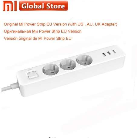 Original Xiaomi Power Socket Strip 3 USB 3 puertos Cargador Adaptador de salida de enchufe de la UE Plug Patch Socket
