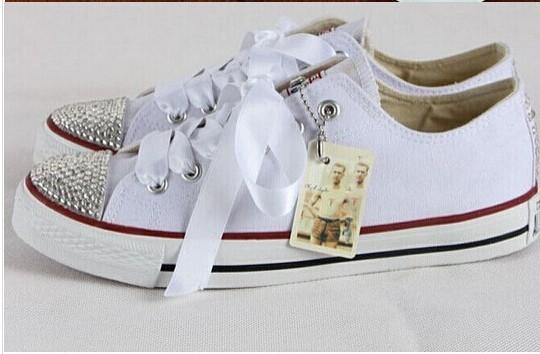 Hot new 2016 men and women star shoes, unisex classic white canvas shoes, fashion brand DIY creative sticky diamond shoe all 35-41