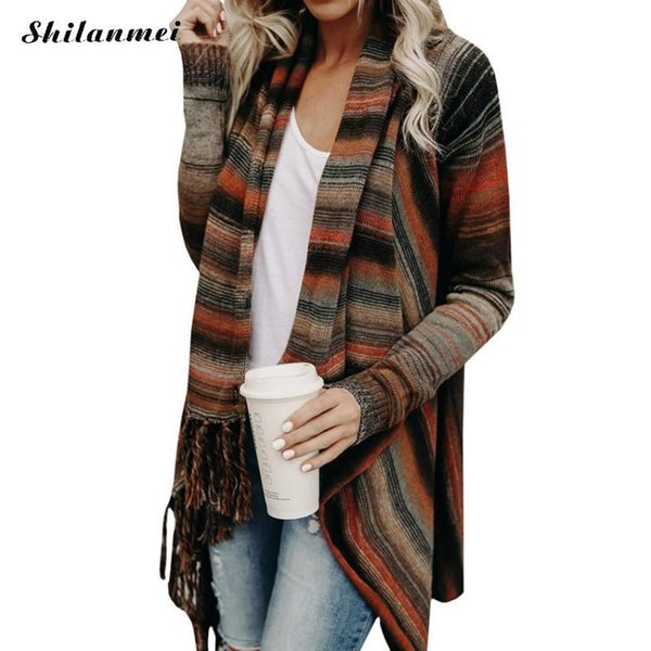 Printemps Et Automne De La Mode Pull Pull Cardigan Femmes Ponchoes Capes Pull Manche Casual Cape Tassel Pulls Pulls Tops