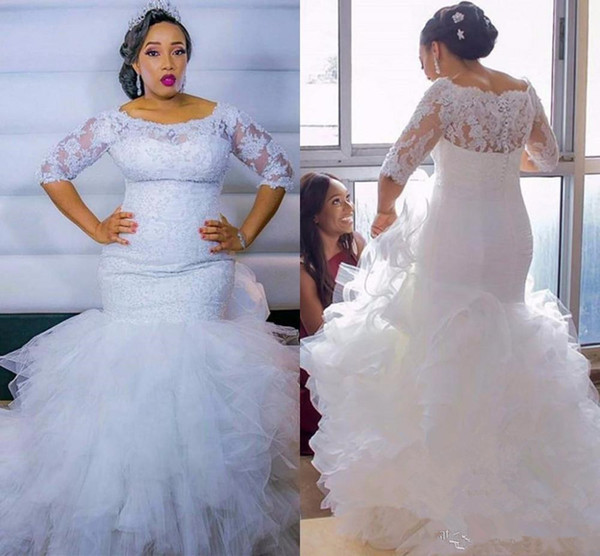 Robe De Mariage African Mermaid Wedding Dresses 2019 Plus Size Half sleeve Lace Tiered Cascading Ruffles Skirt Bridal Gowns