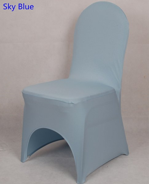 Baby blue colour lycra universal chair cover for wedding decoration spandex chair cover on sale banquet chair arch front open