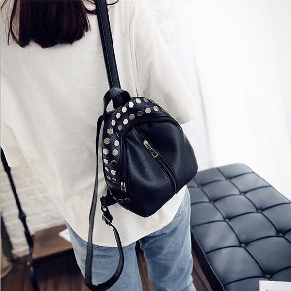 Women Backpack Girls Knapsack School Bags For Teenagers Girls Studs Rivet Black Leather Rucksack Small Travel Shoulder Bag