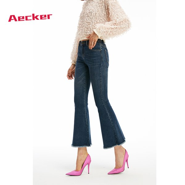 Aecker Womens High Waist Blue Slim Boot Cut Wide Leg Jeans Ladies Elastic Skinny Denim Pants Jeans Trousers Woman