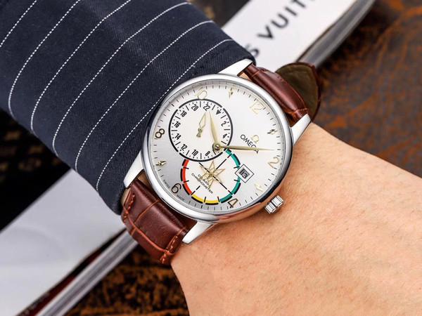 (16) Мужская мода роскошные спортивные часы, швейцарские оригинальные движения, сапфировый циферблат, крокодил кожаный ремешок, механические часы. бесплатная доставка