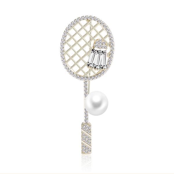 Kişilik Eğilim Bakır Broş Spor Badminton Raket Badminton Inci Bakır Zirkon Broş Pin Yüksek Kalite Takı