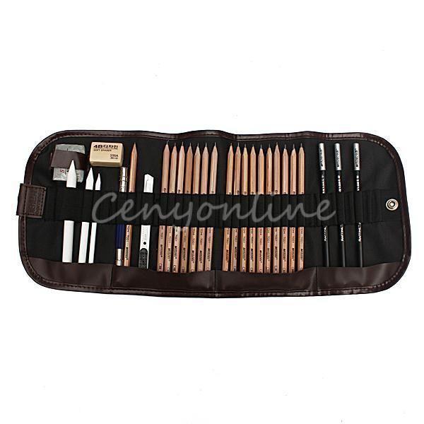 best selling Wholesale-29 PCS Portable Professional Sketch Pencils Charcoal Extender Eraser Paper Pen Cutter Drawing Set Bag