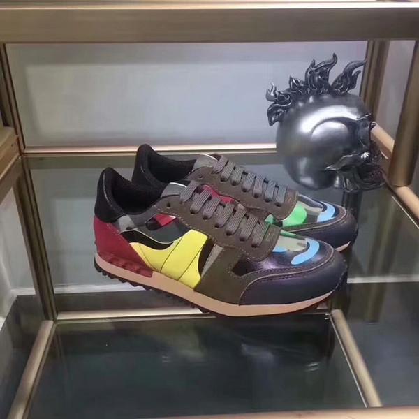 Women Rockstuds Leather Suede Lace Rockrunner Shoes Men Camouflage Studded Shoes Genuine Leather Sneaker Eur Size wylj161317