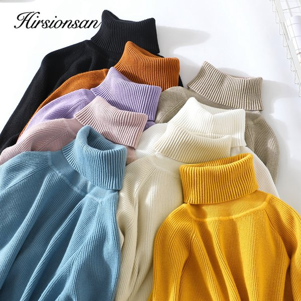 Hirsionsan Thick Warm Knitted Turtleneck Sweaters 2019 Autumn Winter Women Pullovers Casual Solid Jumper Slim Elastic Pull