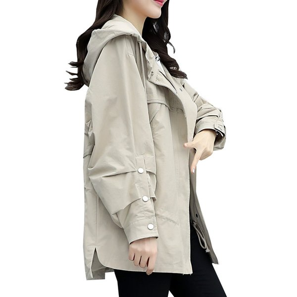 2019 Nova Primavera Outono Mulheres Casual Trench Coat Feminino Zíper Plissado Com Capuz Curto Blusão Senhoras Soltas Plus Size Casaco M202