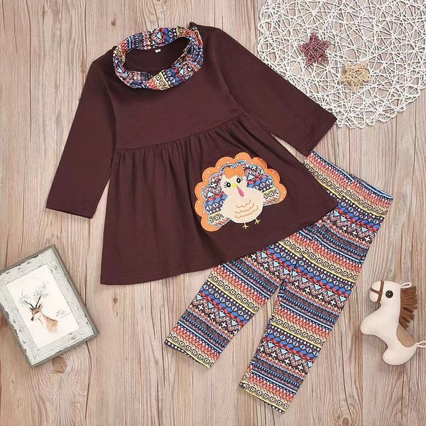 Thanksgiving Baby Girls Outfits Kids Turkey Feather Print Sets Kids Girl Autumn Clothing Sets