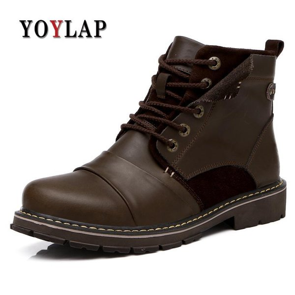 2018 Designer Black Winter Boots Men, Handmade Waterproof Genuine Leather Boots Men s Work Shoes Big Size 45