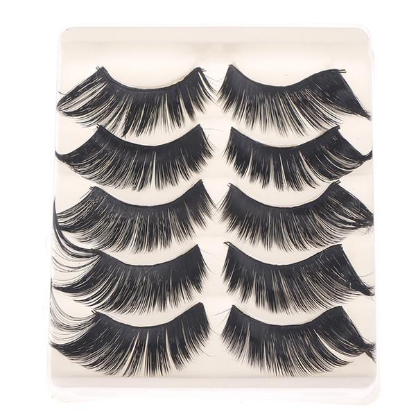 5 Pairs Handmade Thick False Eyelashes Extension Mink Lashes False Eyelashes Beauty Makeup Tools Long Cross Fake Eye Lashes