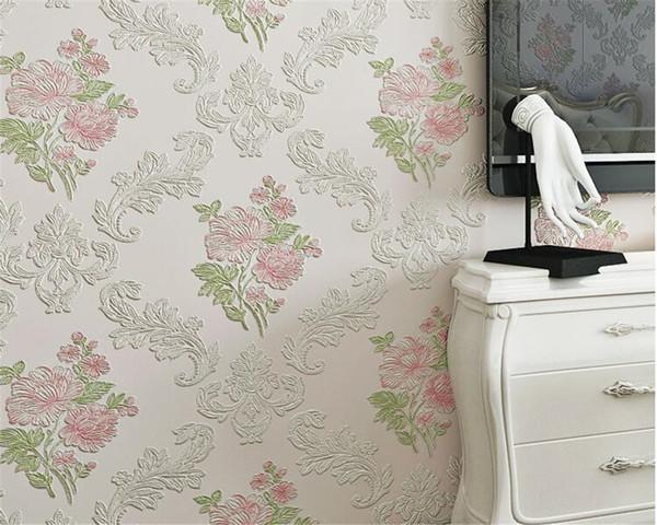 Luxury Europe idyllic Pink blue wallpaper 3D living room dining bedroom wallpaper Home Room Wall Sticker