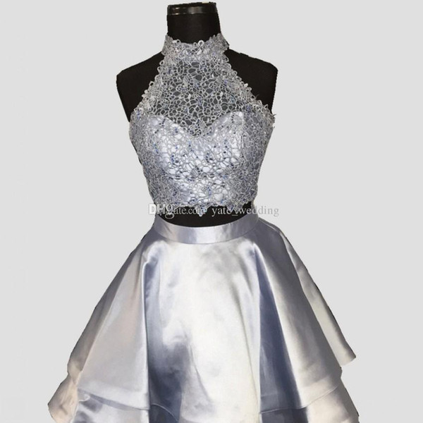 Silver Gray Two Piece Homecoming Dresses High Neck Sleeveless Lace Satin Backless Royal Blue Light Sky Blue Red Short Party Dresses
