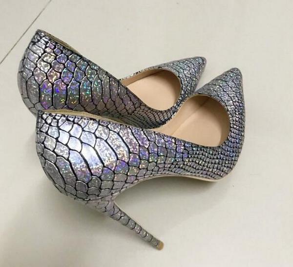 Новая весна осень женская обувь Silver Flash на высоком каблуке из змеиной кожи женская туфли на шпильках с шипами одиночные туфли 10см классические туфли размер EU 33-44