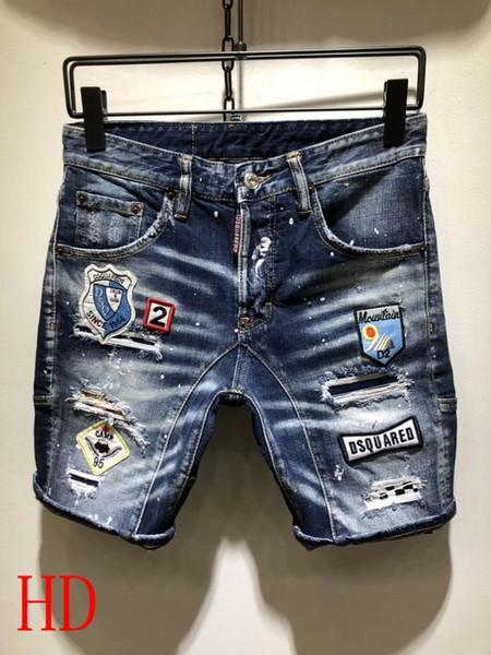Итальянский дизайнер мужской одежды d2 джинсовые шорты повседневные хип-хоп джинсы красочные ретро брюки ручной работы негабаритные джинсы 44-52