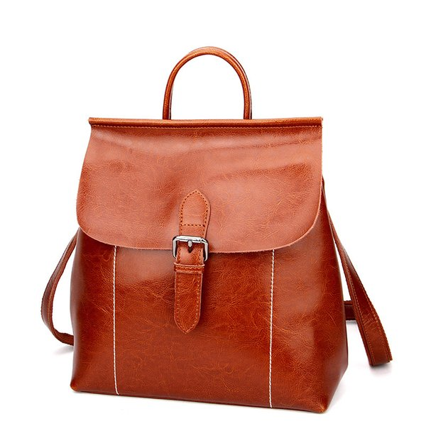 Genuine Leather Women Backpacks Mochila Chica Cow Leather Casual School Backpack For Teenagers Laptop Book Backpacks sac a dos