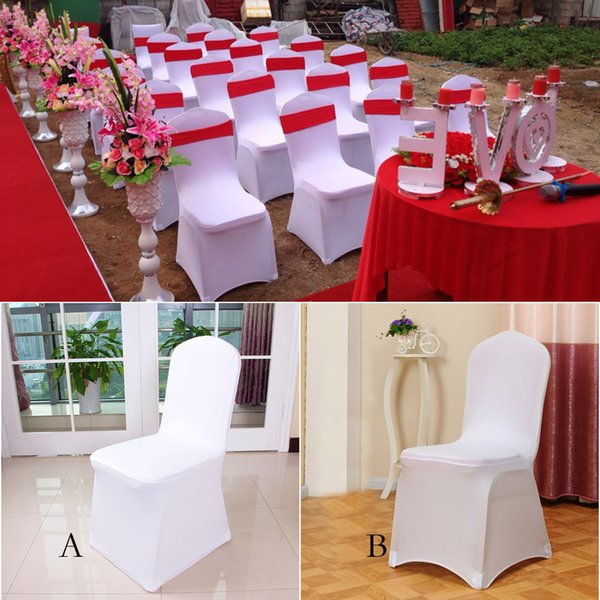 1pcs Cheap White Flat Arched Front Covers Spandex Lycra Chair Cover Wedding Party
