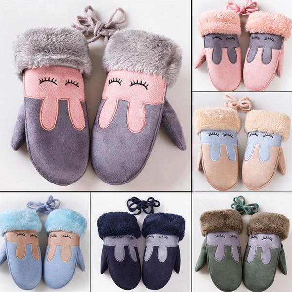 Kawaii Children Winter Gloves Fashion Plushed Cartoon Thick Fur Mittens Adjustable Warm For Infant Kids School Acrylic Gloves