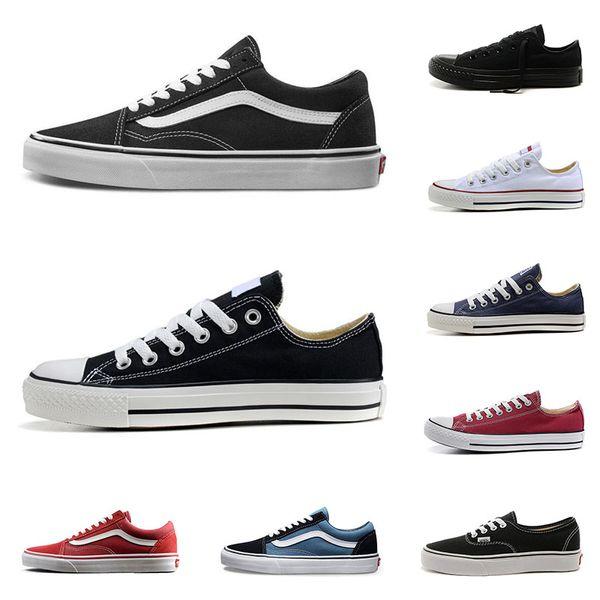 Vans converse Zapatillas de lona baratas para hombres y mujeres Old Skool negro blanco Checkerboard classic slip on 1970s triple black navy fashion zapatos de skate para hombre