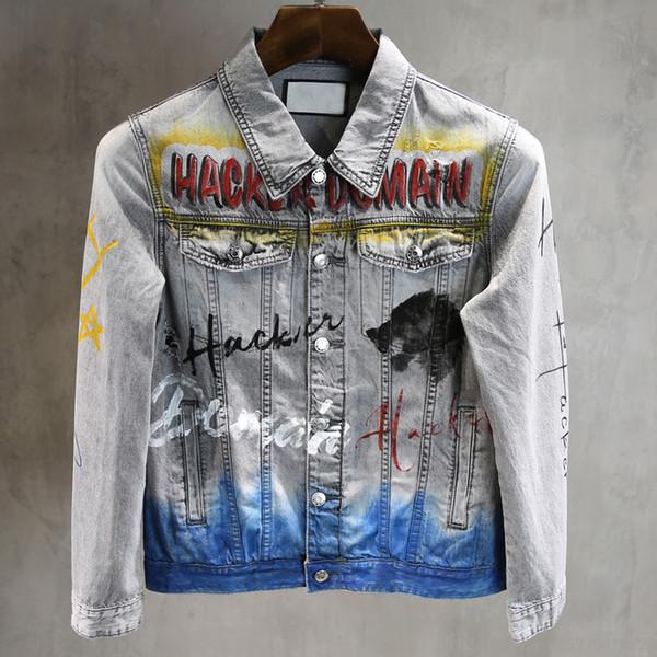 2019 Primavera Chaquetas de diseñador para hombre Pintadas a mano Estampado de graffiti Estirar la chaqueta Frotada Cabeza de lobo Gris Chaqueta de diseñador de mezclilla delgada