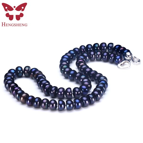 2019 Amazing New Real Black Pearl Jewelry Necklace For Women,natural Freshwater Pearl Cute Love Shape Buckle,fashion Jewelry MX190713