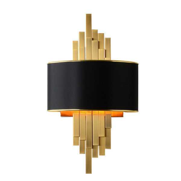 Gold Wall Sconces Lighting Fixtures Bedroom Living Room Black Lampshade Wall Lamp AC90-260V LED Wall Lamp